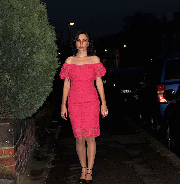Rhoyally Chic in Asos pink lace bardot dress