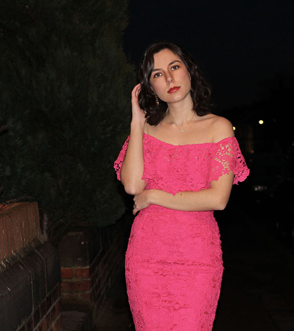 Rhoyally Chic in Asos pink lace bardot dress for Valentine's Day