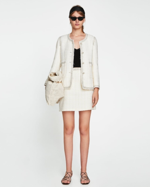 White Zara Tweed Suit