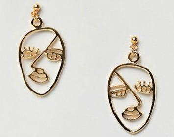 Asos Gold Doodle Face Earrings