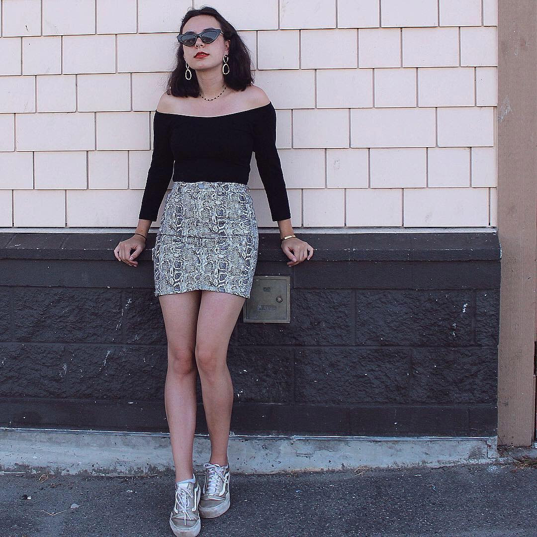 asos snakeskin print skirt