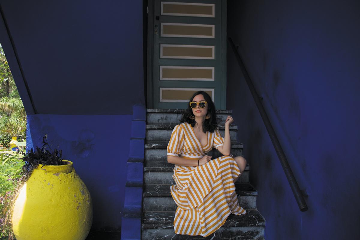 Topshop striped dress in Jardin Majorelle