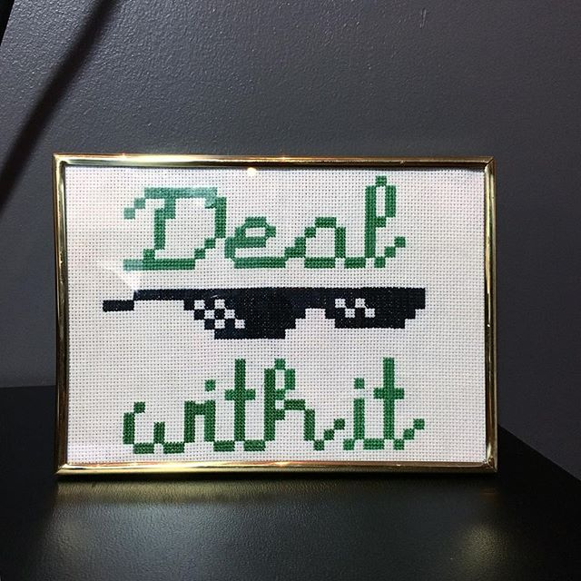 This guy is finally up for sale in my etsy shop. Check it out! - - - - - - #dealwithit #memes #memelord #memelove #crossstitch #craftgifts #crossstitchlove #subversivecrosstitch #counterculturecrossstitch #snarkycrafts #snarky #snarkycrafts