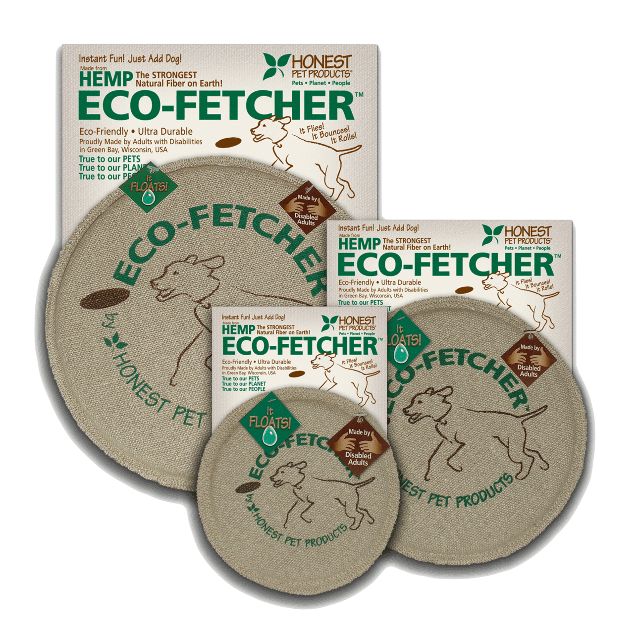 Eco-Fetcher - The Eco-Fetcher, a Frisbee manufactured from 100% hemp, is another great gift for an active pup.