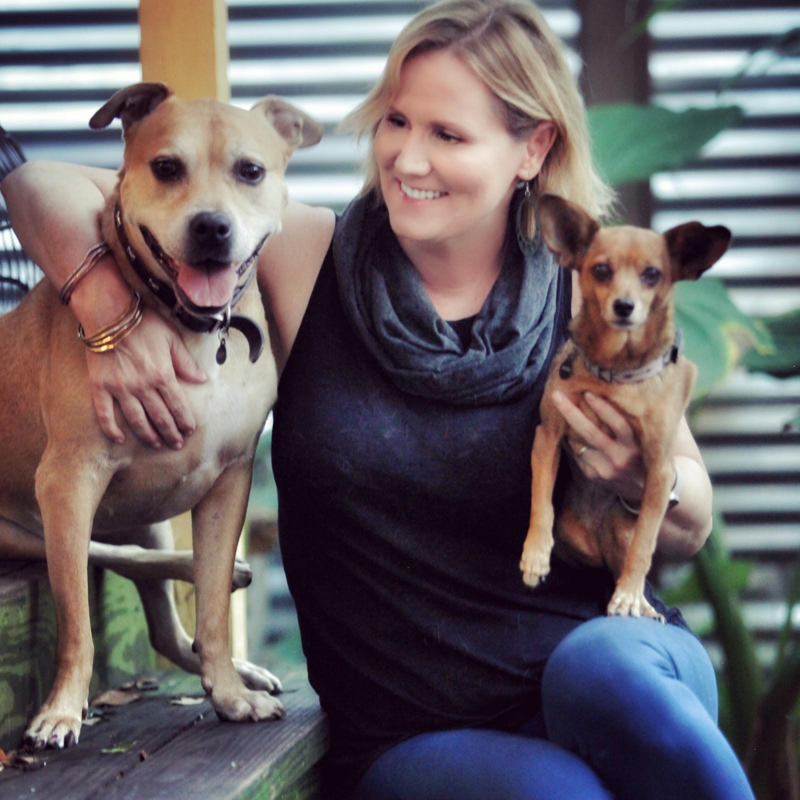 Photo: Jennifer John wearing a    Pang Wangle    scarf and pants with dogs Dicey and Jane