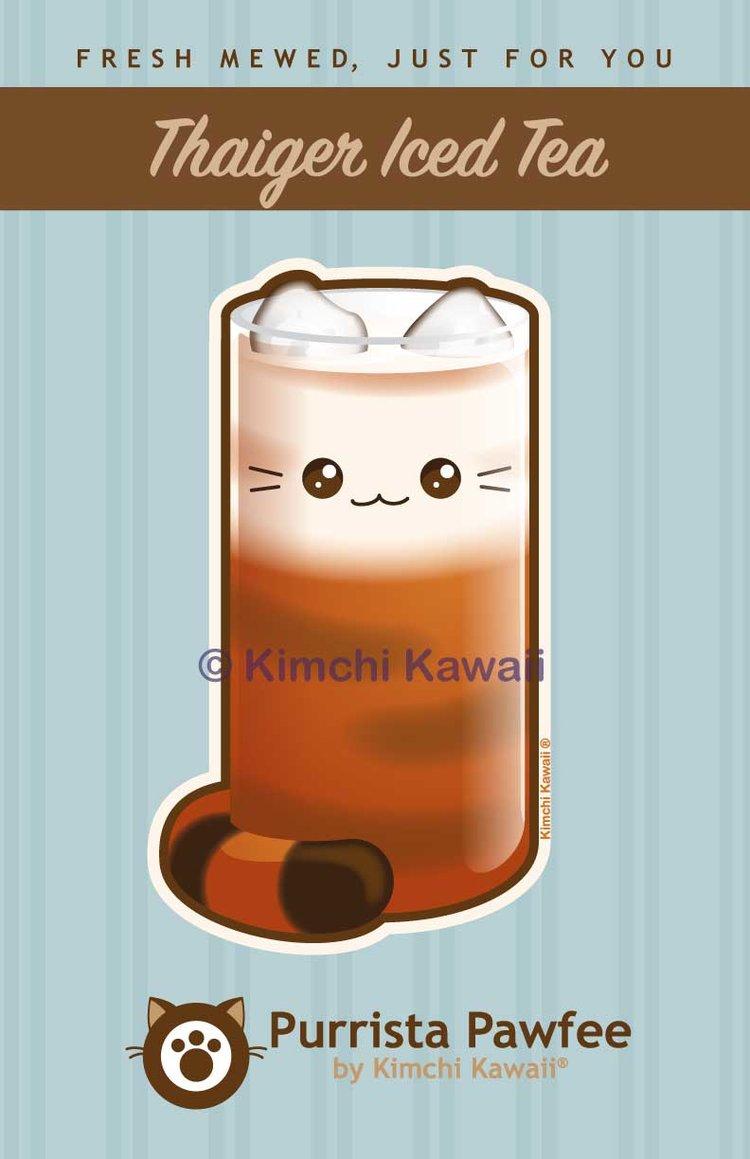Thai Iced Tea Kitty Cat Print — Kimchi Kawaii