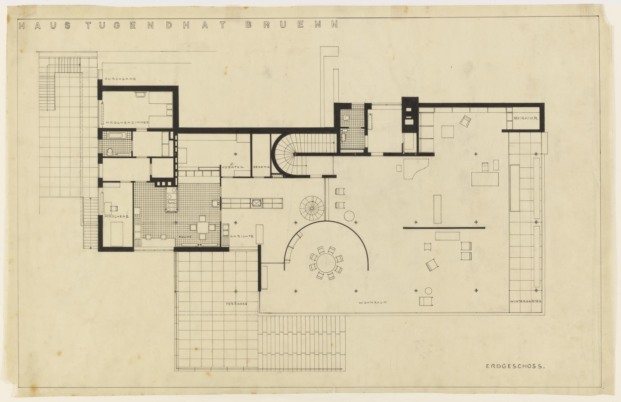 Ejemplo de distribución cumpliendo necesidades y rompiendo esquemas. Planta de la Villa Tugendhat 1929, diseño de Mies Van Der Rohe (1886-1969). Fuente: MoMa museum NY.