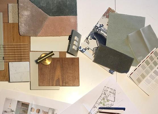 Paleta de materiales, texturas y colores que empiezan a configurar un espacio.