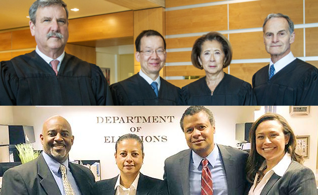 Four incumbent judges (top row) are being challenged in the June 5 election by four criminal defense attorneys (bottom row).