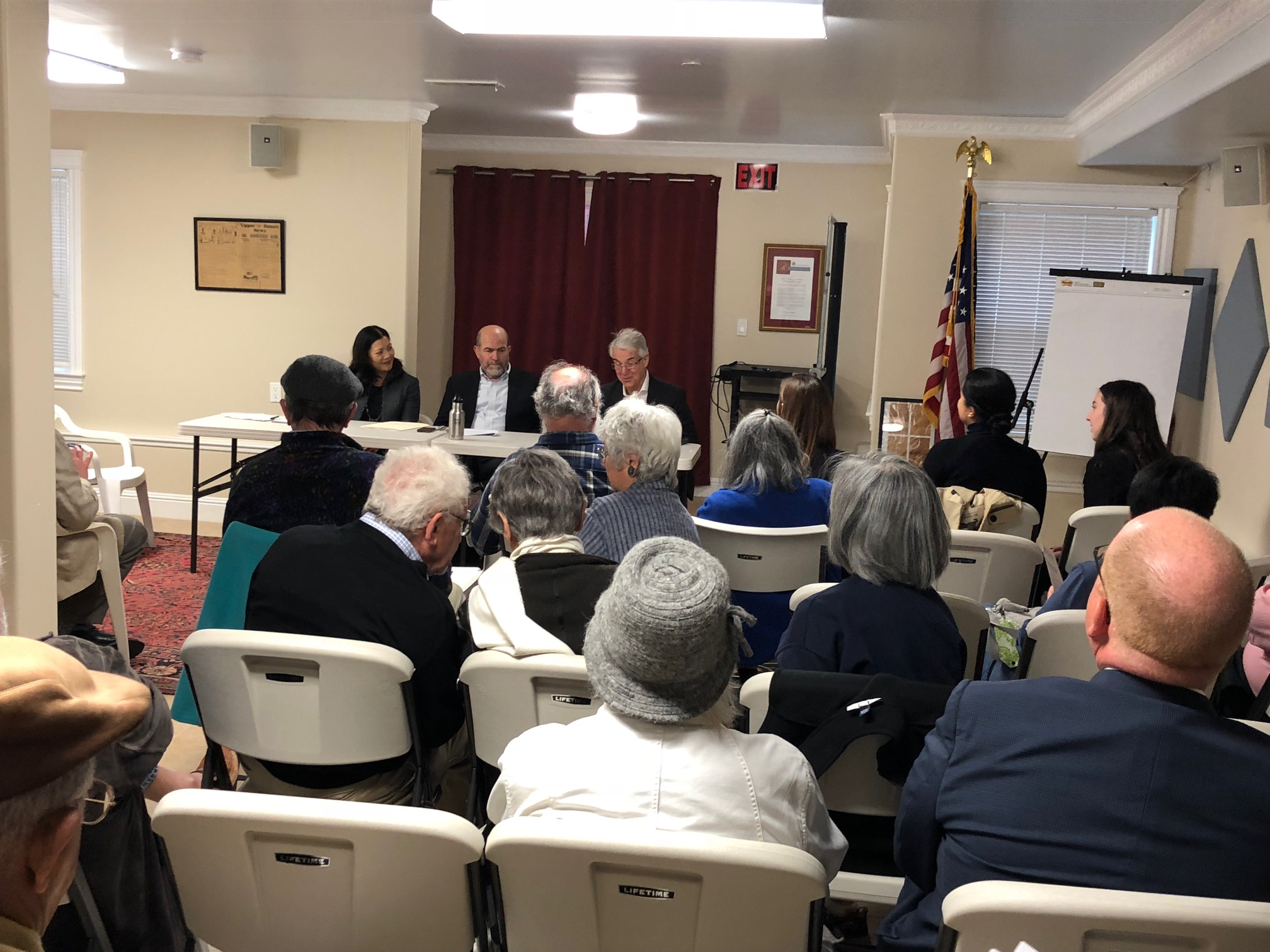 District Attorney George Gascon and Stop Crime SF board member Nancy Tung discuss the impact of Prop 47 and San Francisco's property crime problem before a full house in the SHARP community room.