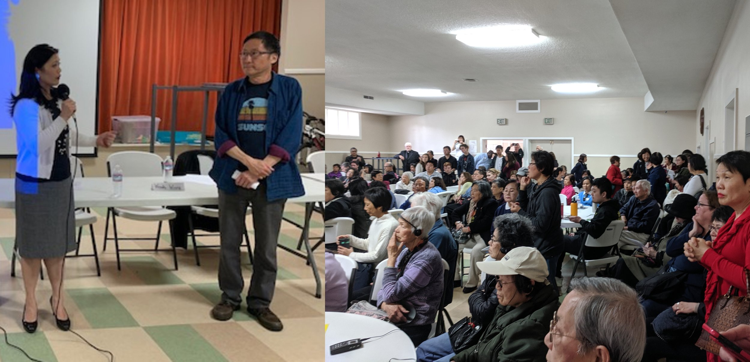 Stop Crime SF board member Nancy Tung briefs residents about the group's crime prevention programs at the District 4 (Sunset) public safety town hall held by Supervisor Gordon Mar.