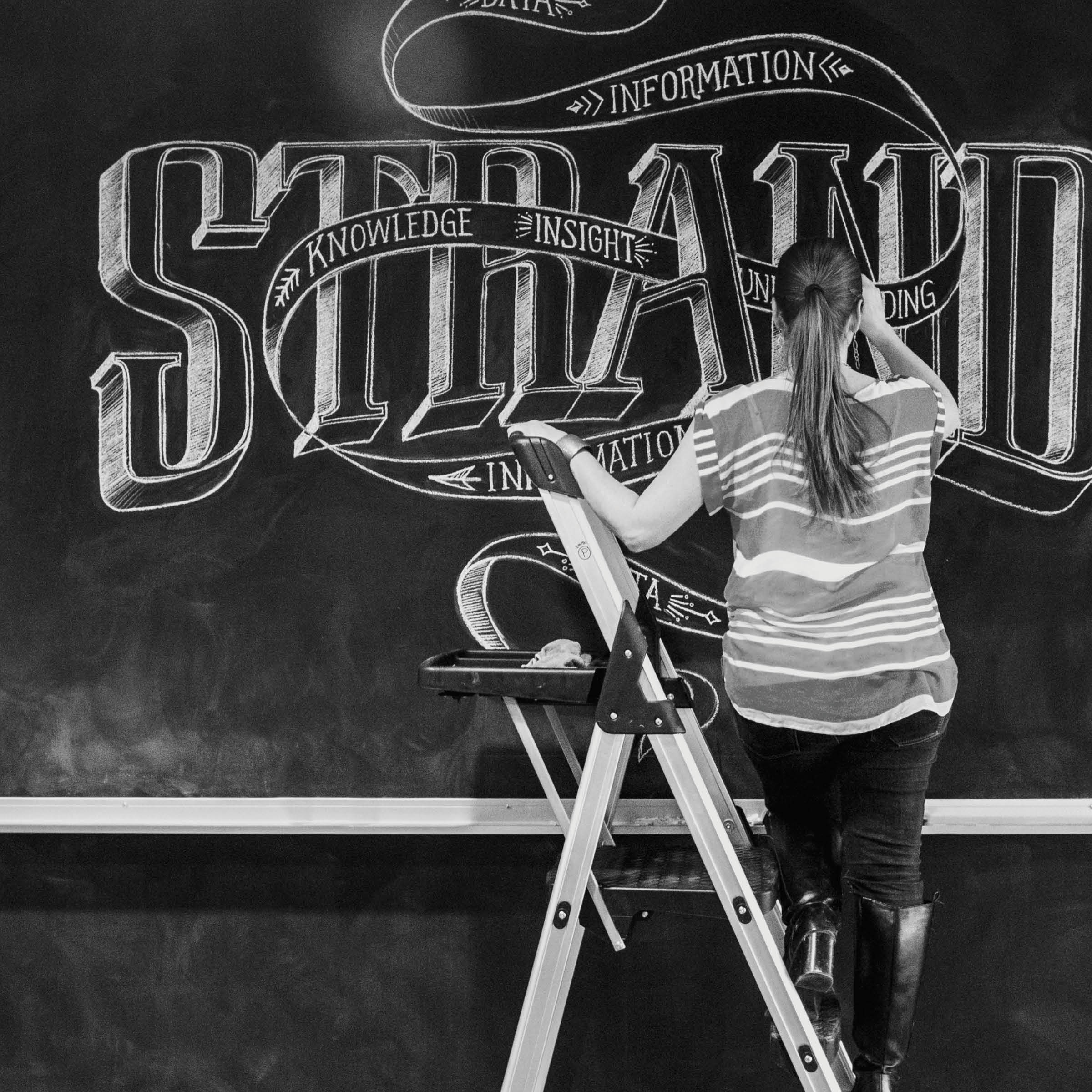 Chalk Mural Installation at GTB   We worked on-site to create a 50-foot chalk wall installation in the lobby of Detroit-based GTB (Global Team Blue). The mural contained three typography-based compositions inspired by content that they provided.