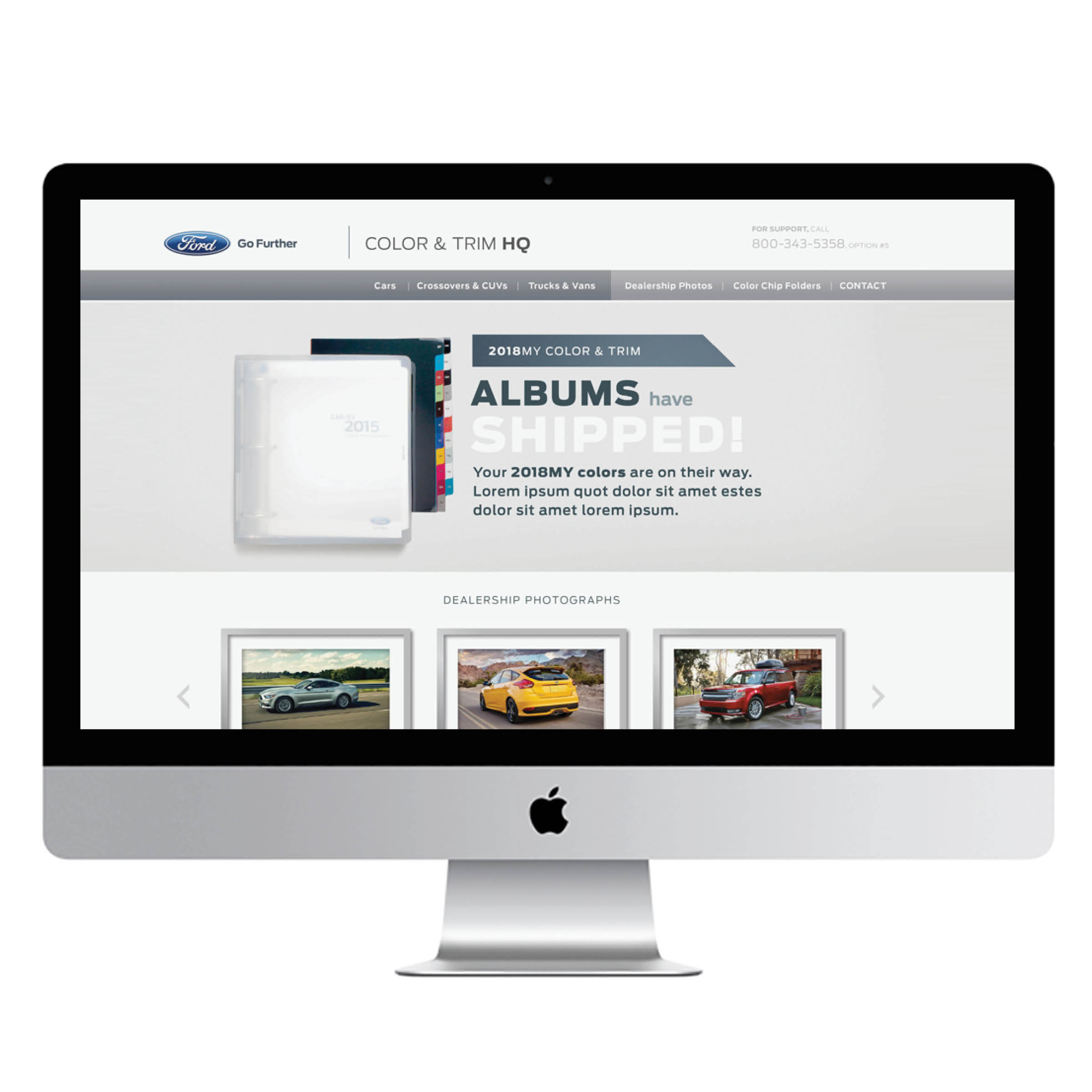 Ford Dealer Color & Trim Site   We designed the interface and UX for Ford's first-ever dealership-facing Color & Trim website. This website is accessible only by current Ford dealers, allowing them to preview the color, trim and paint options and customer-facing dealership support materials for upcoming model years.