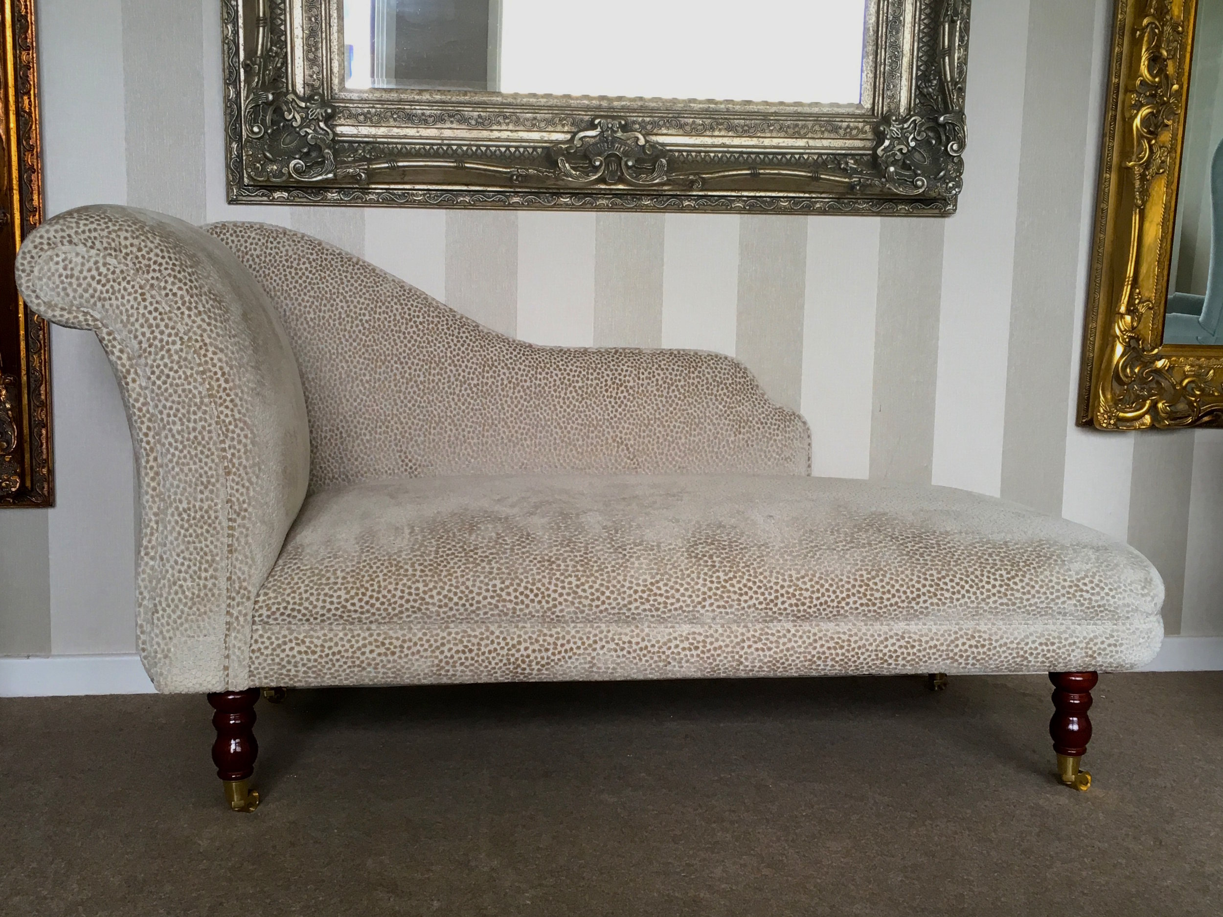 Chaise Longue: £550 plus 5 metres of your chosen fabric. Can be made to different sizes, and left or right-handed.