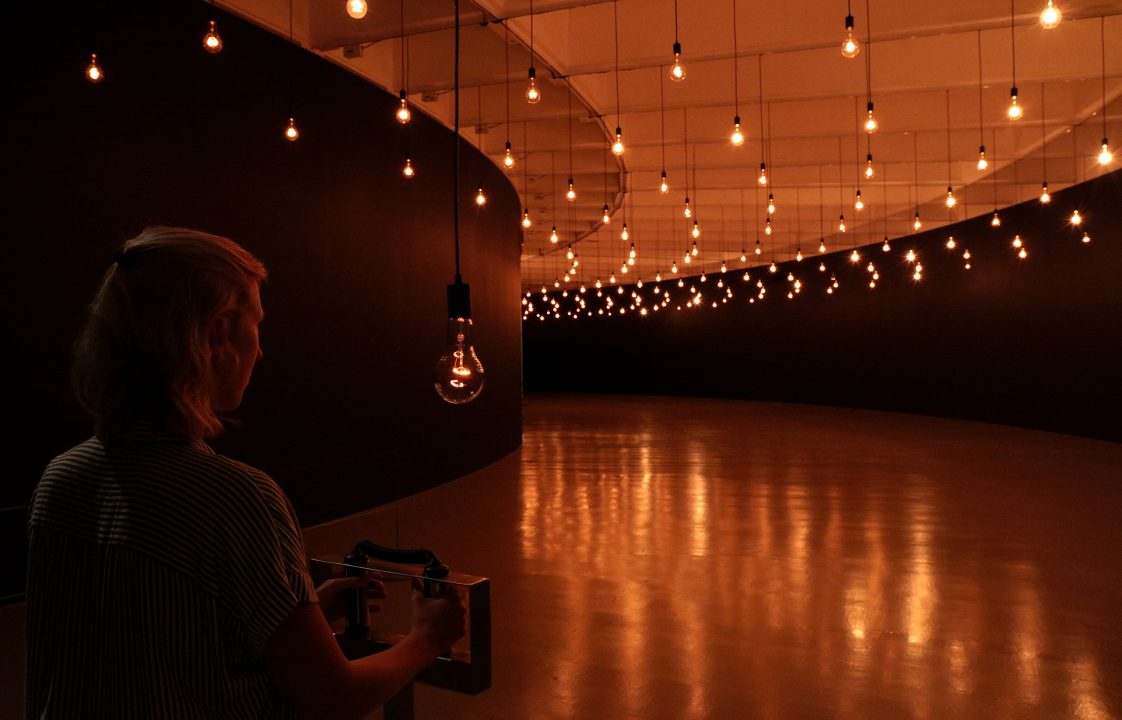 Rafael Lozano-Hemmer,  Pulse  Room, 2006 in  Rafael Lozano-Hemmer: Pulse  at the Hirshhorn Museum and Sculpture Garden, Washington, DC, 2018. Photo: Cathy Carver
