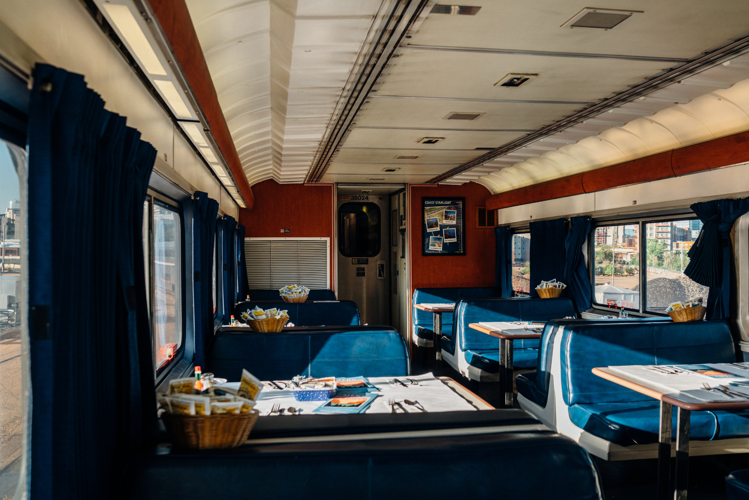 The dining car ready for breakfast