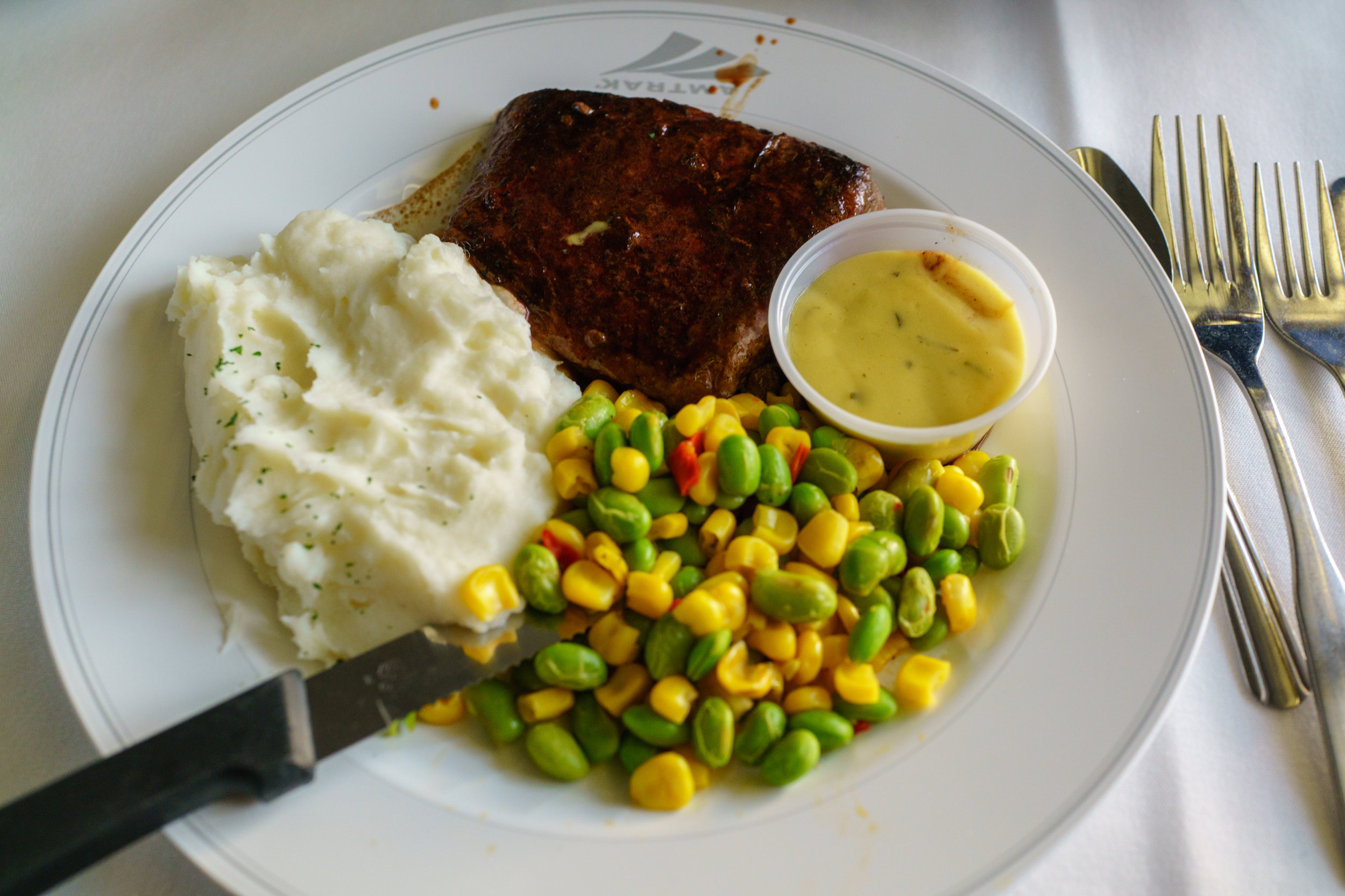 The Amtrak Signature Steak for dinner
