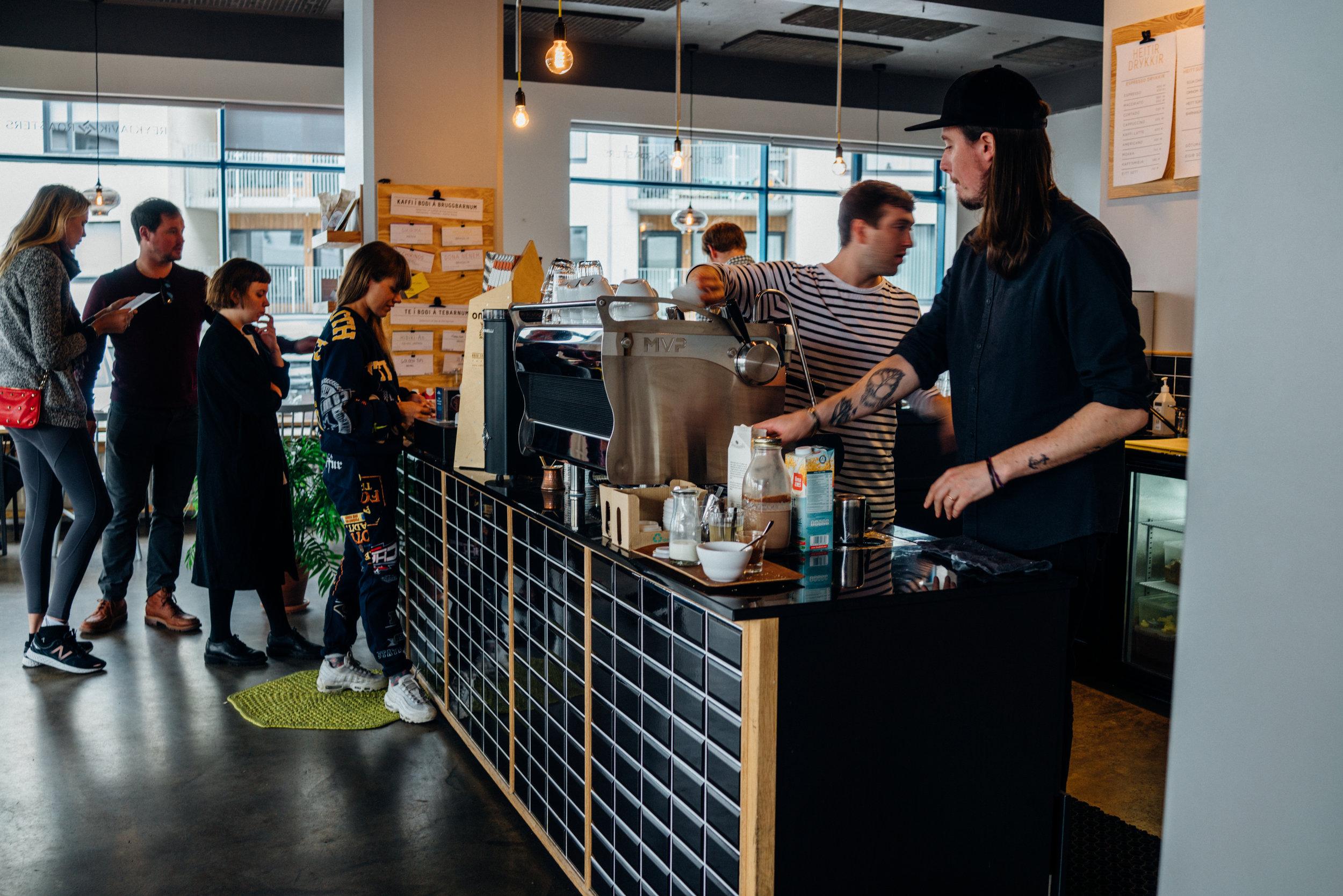 """Morning """"rush"""" at Reykjavík Roasters'Brautarholt location"""
