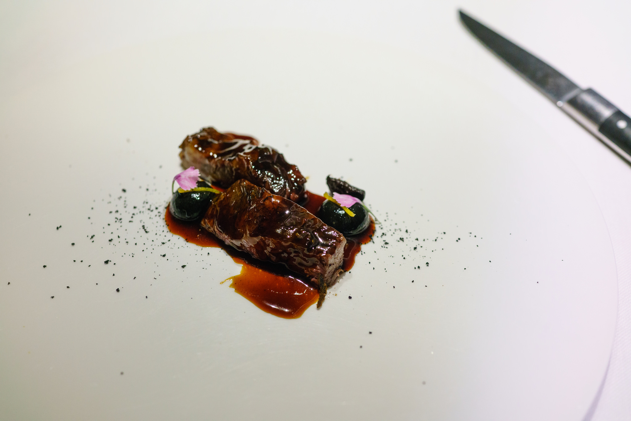 Chargrilled Aubergine with Beef Brisket and Aged Meat Jus at Restaurant Abac in Barcelona, Spain