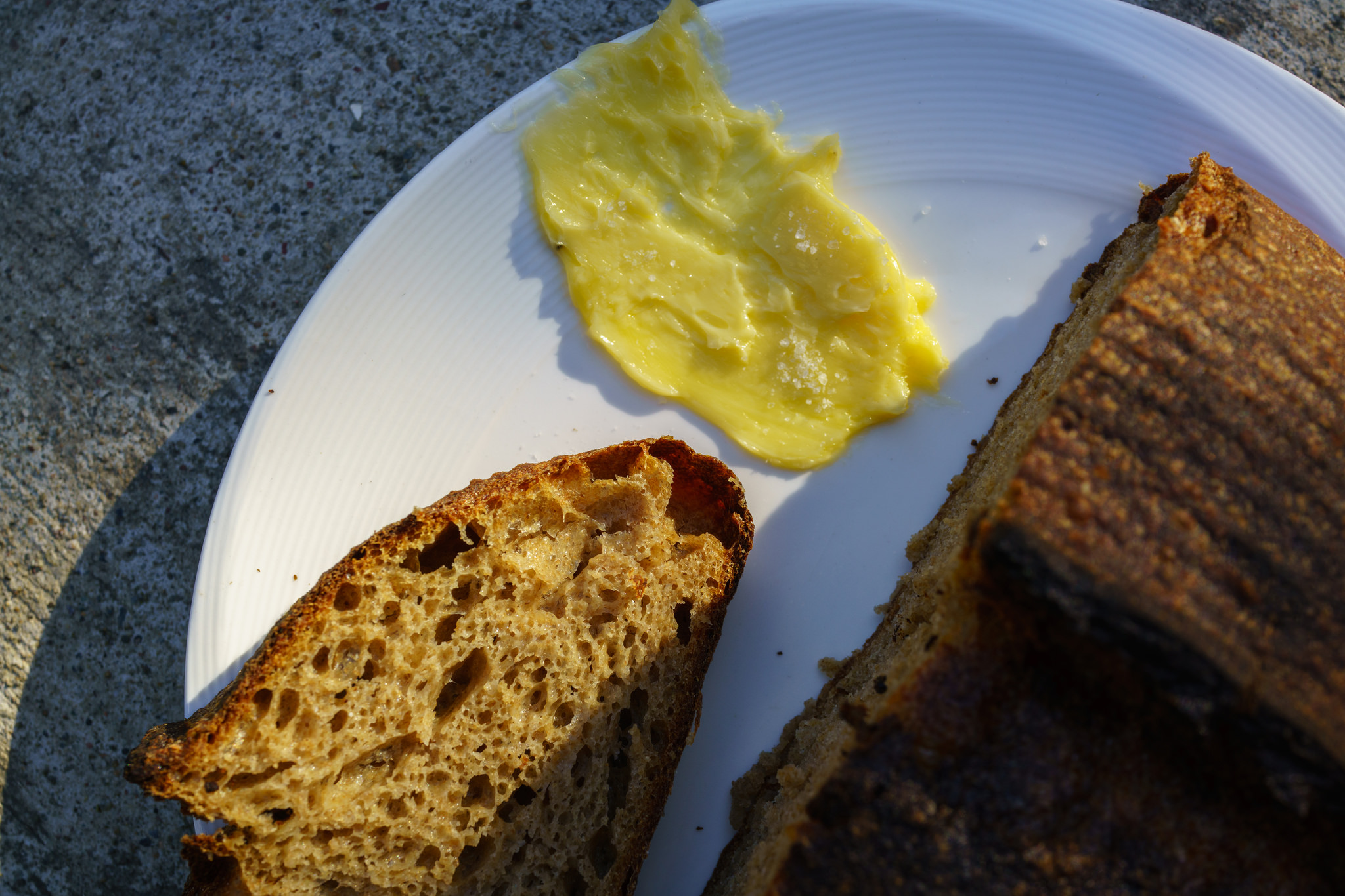 Josey Baker's Country Bread with Straus Creamery's 85% butterfat butter (look at its color!)