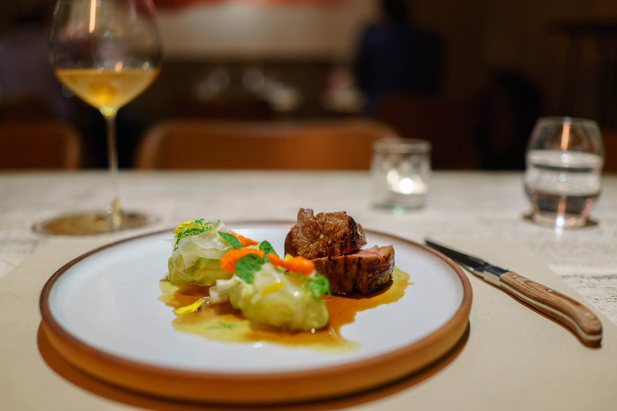 """Lamb Rump, Edamame Bean, Fennel, German Chamomile at Innio in Budapest, Hungary, paired with Maria & Sepp Muster's """"The Gräfin"""""""