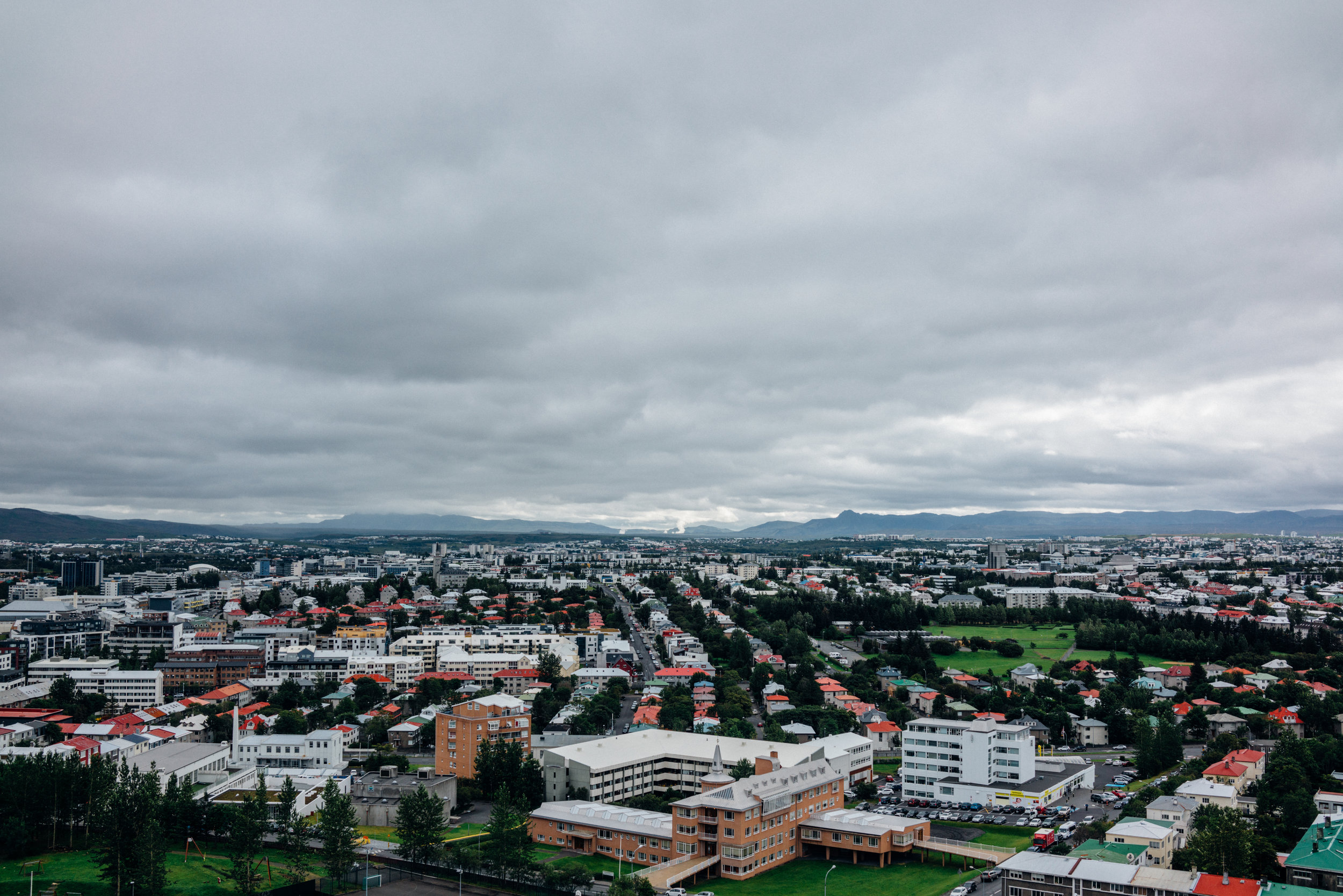 View of Reykjavík from Hallgrímskirkja, a curious looking Lutheran parish church