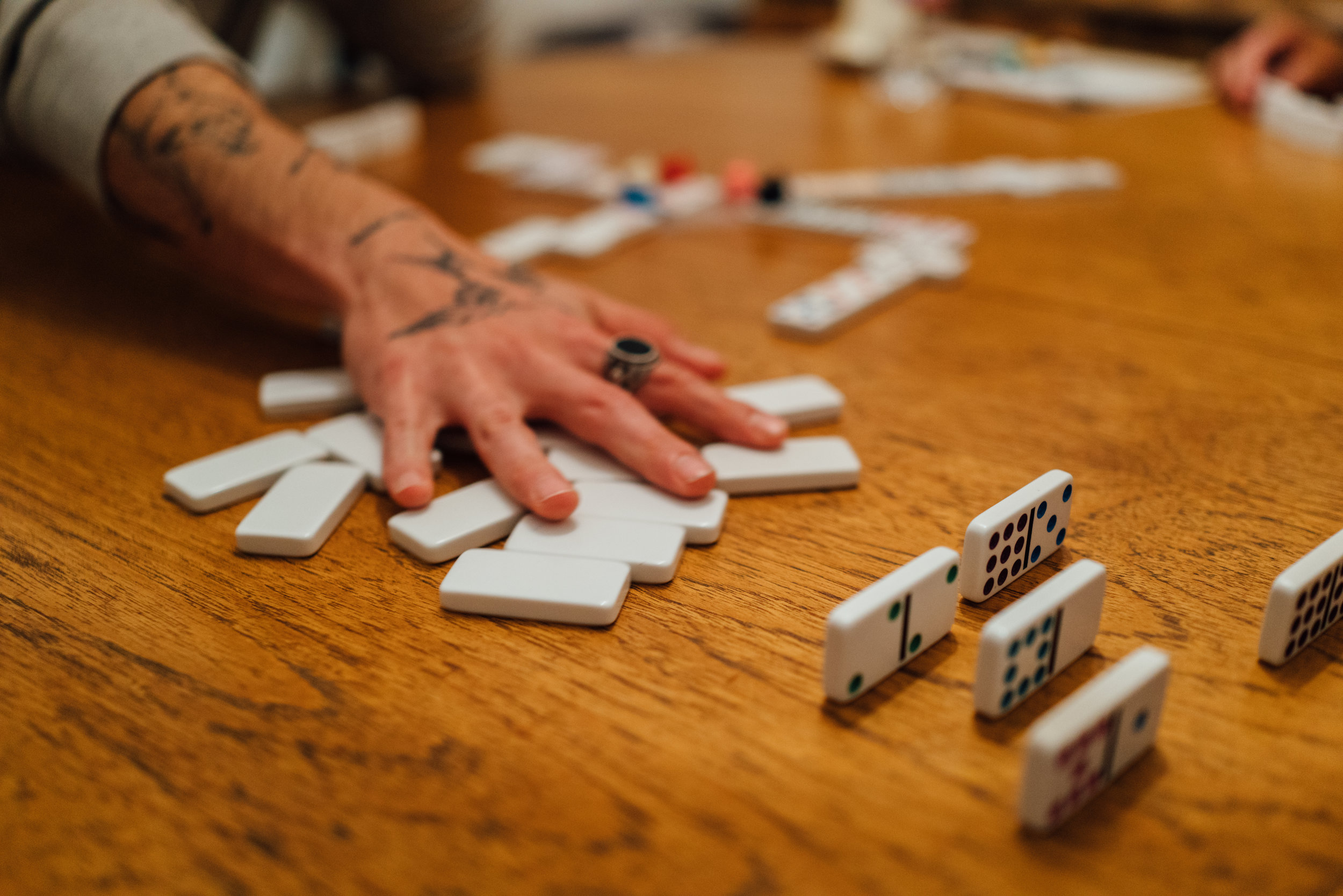 A game of Mexican Train at home