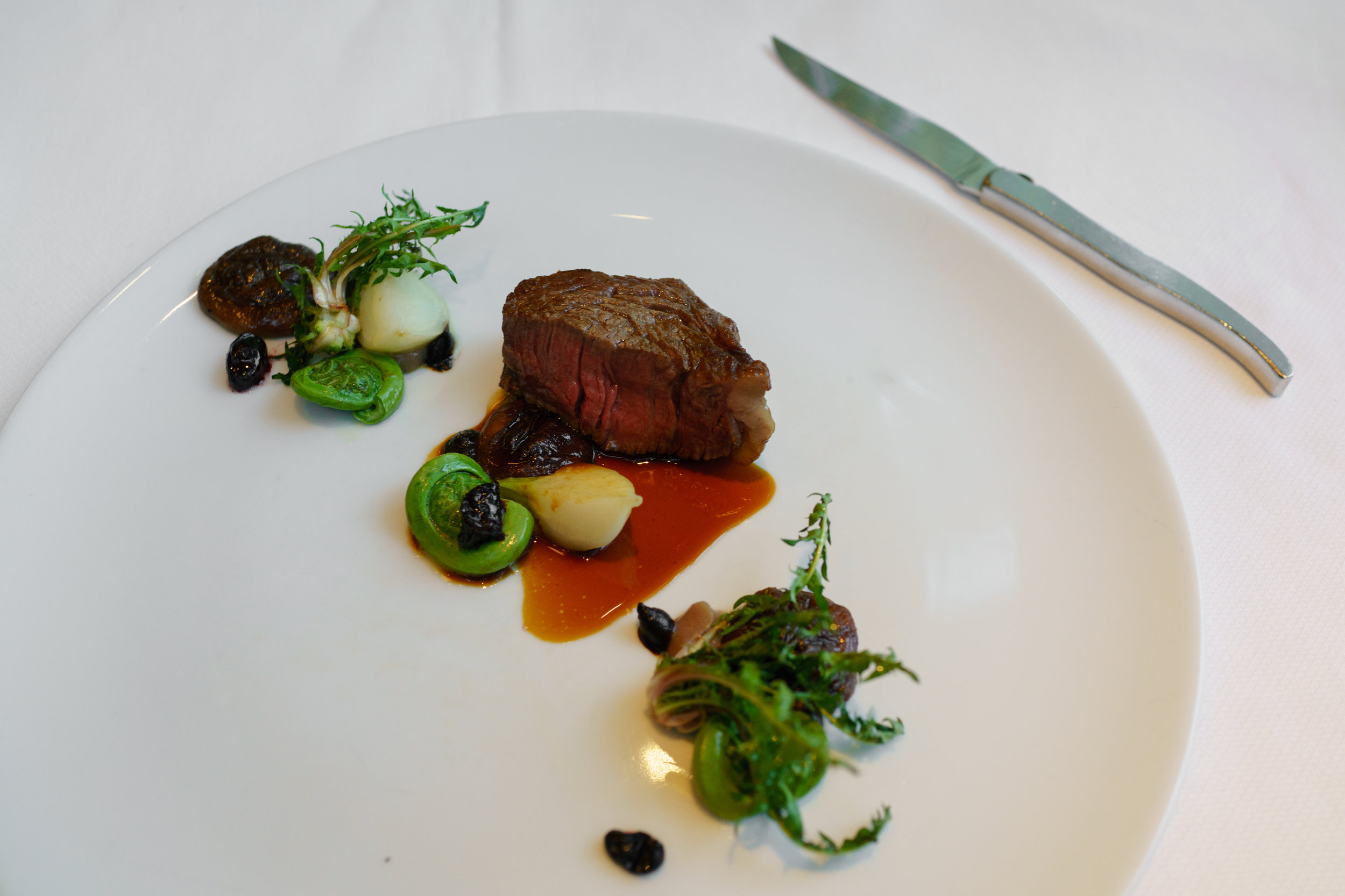 Beef, Fiddleheads, Black Garlic at   Toque!