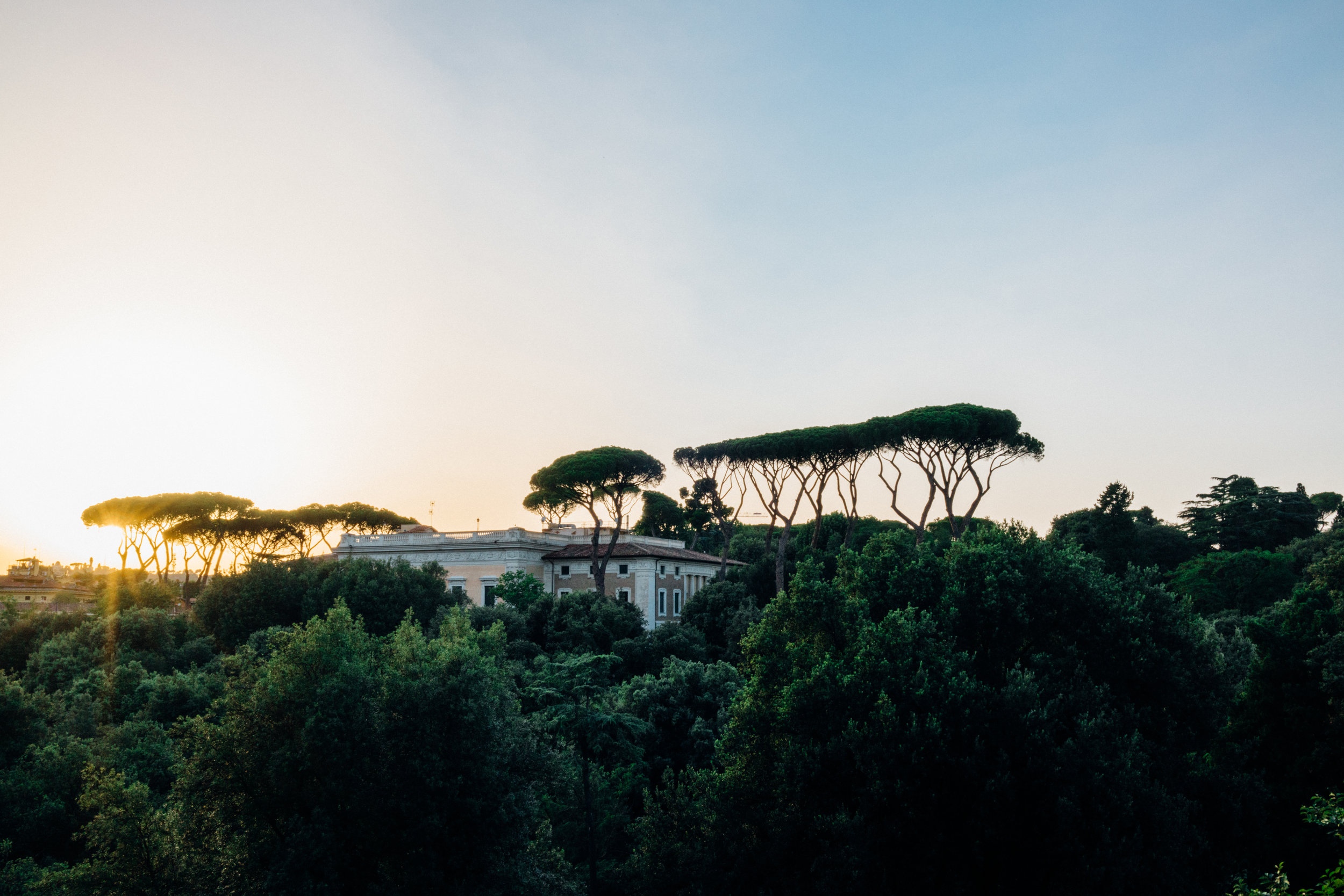 Watching the sun set from Villa Borghese
