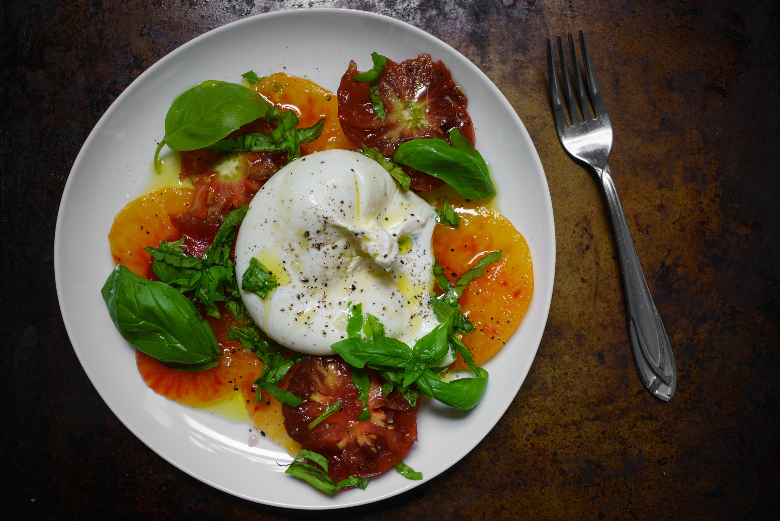 A simple Caprese salad at home in Brooklyn, New York