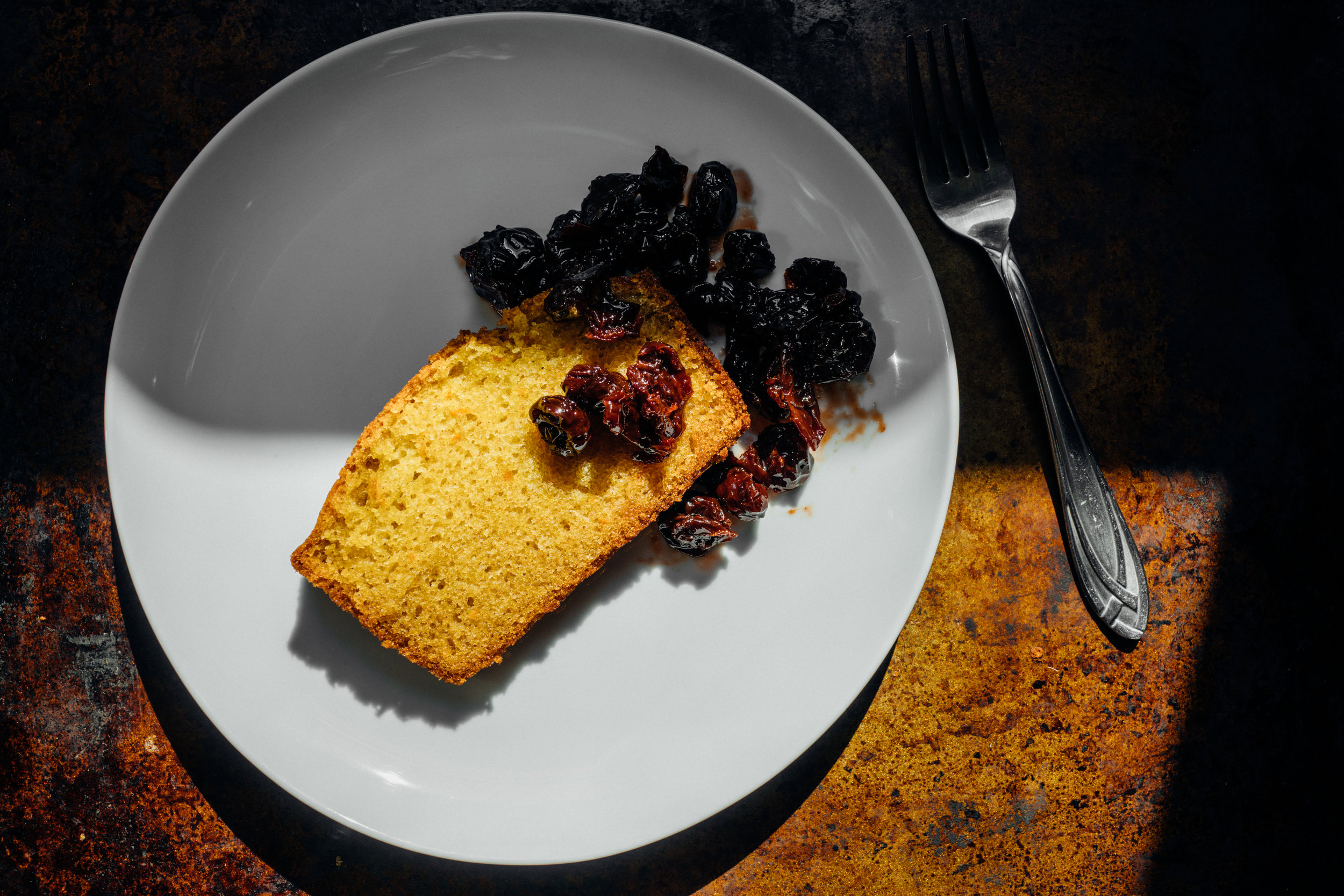 Mialiano-inspired Olive Oil Cake, with dried  amarene  cherries