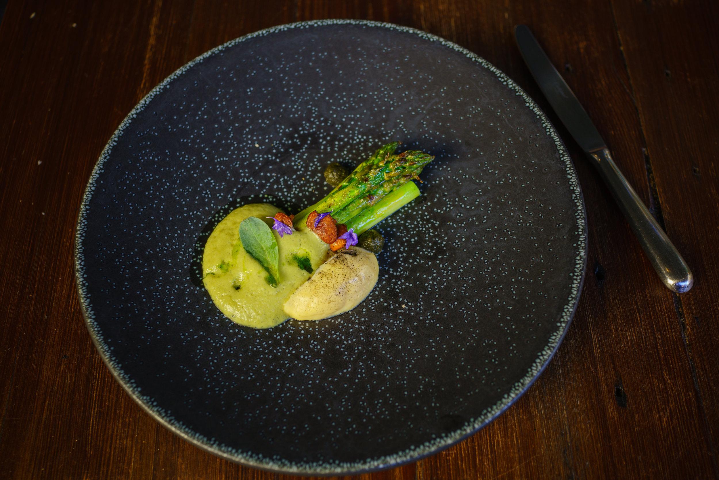 Grilled green asparagus, Chanterelles, Sea Mustard,  Queijo São Jorge , Charcoal