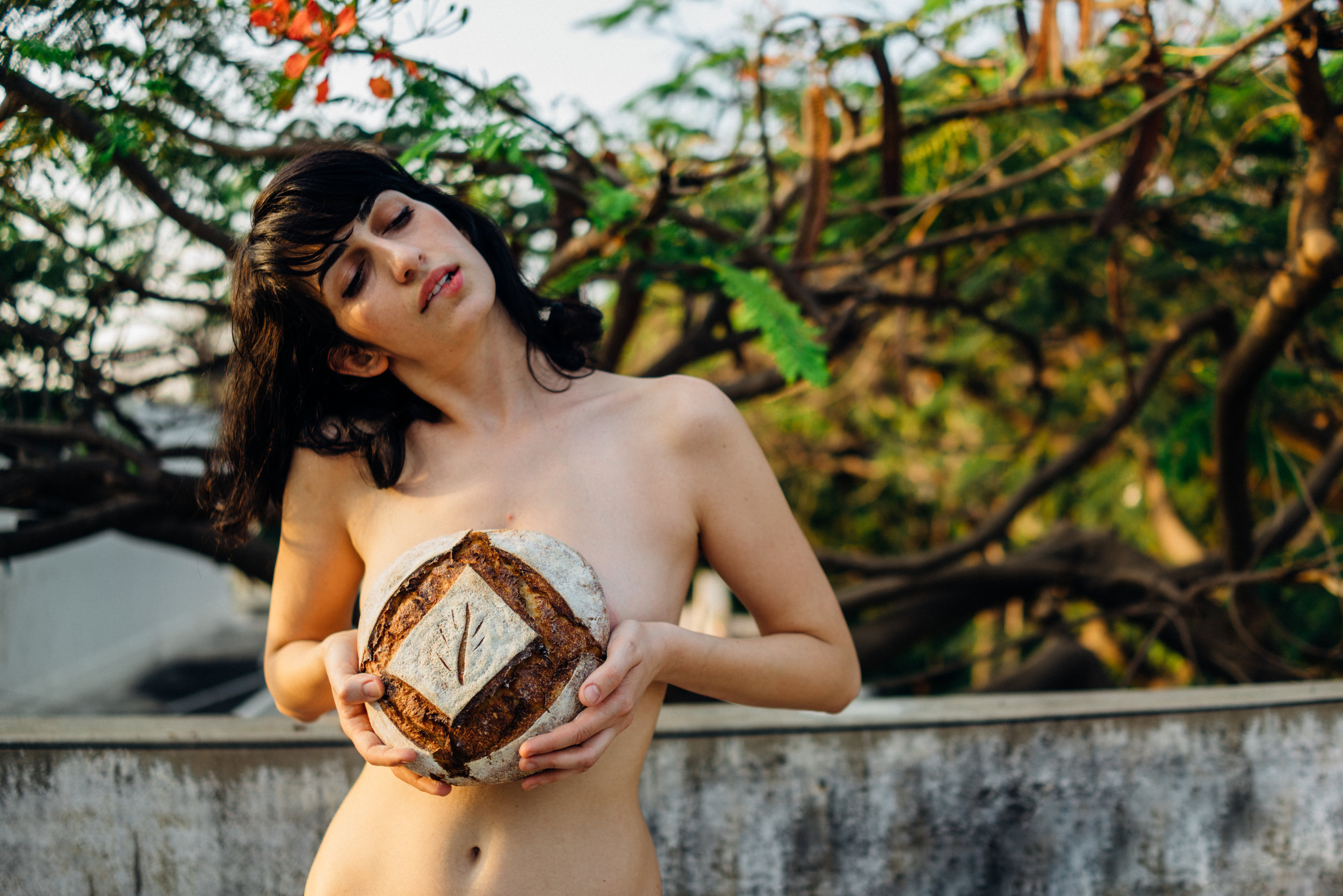 Maria Elena with Krumb Kraft's sourdough boule, Bangalore, India