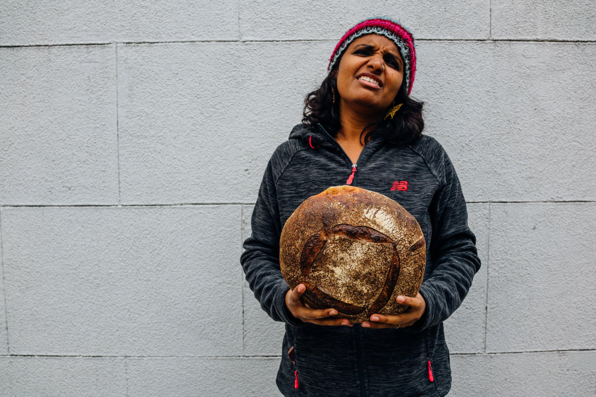 My friend Kavi with Tartine's Ancient Grain Einkorn