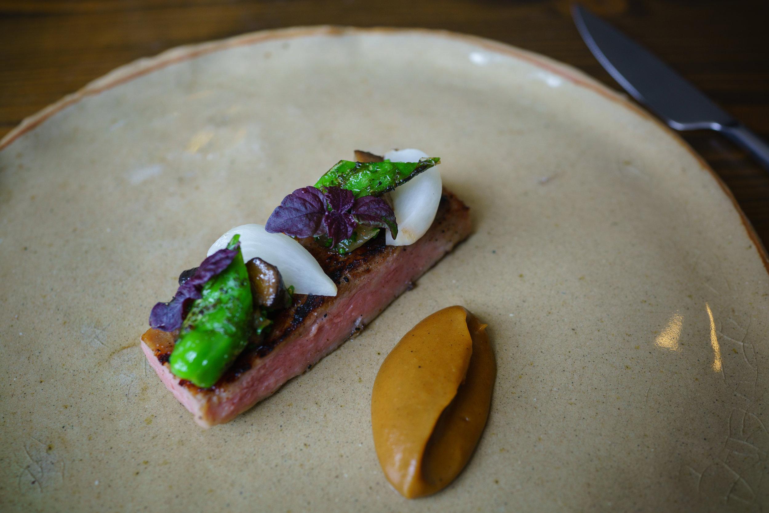 Iberico Secreto, Kimchi Mushroom, Celeriac, Shishito