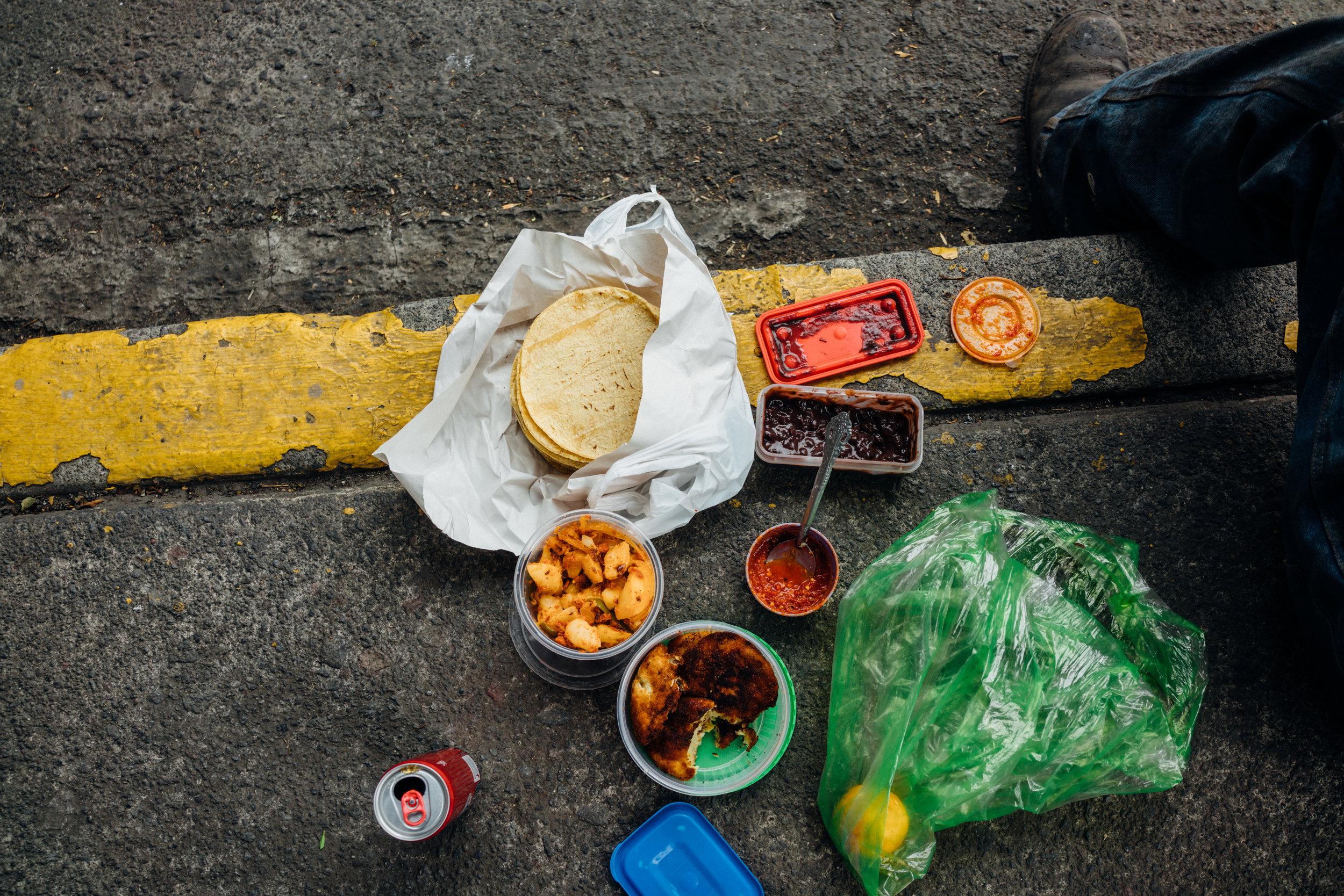 A worker's delicious lunch, on the sidewalk