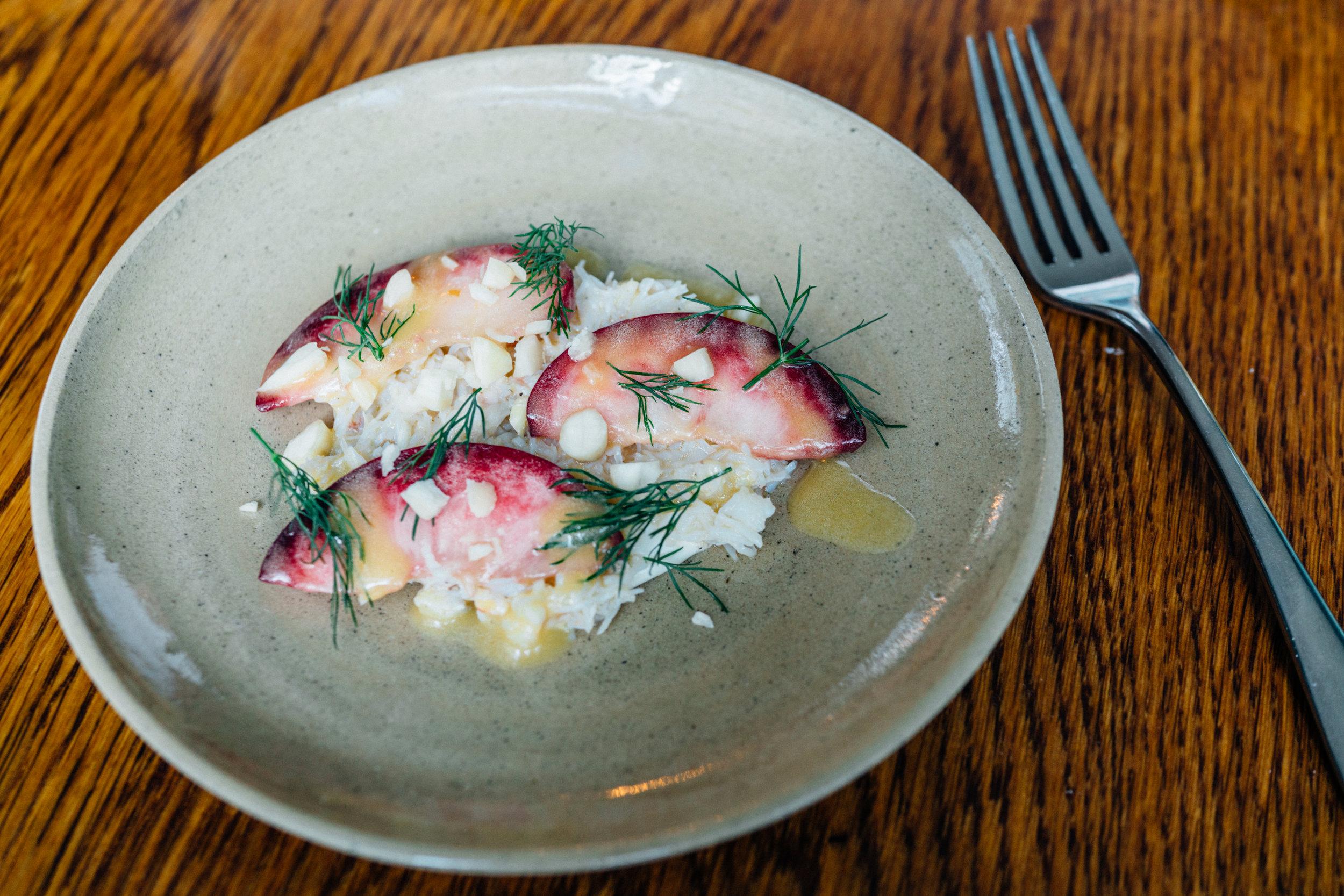 Dorset Crab, Peaches, Almonds at Salon in Brixton