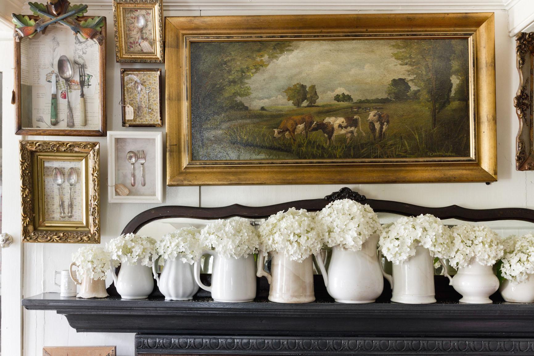 rustic-farmhouse-hydrangeas-white-pitchers-mantle-interior-photography.jpg