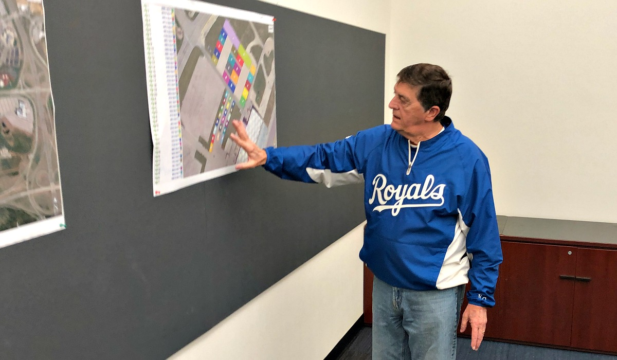 Andrew reviews layout plans for Dozer Day at the Kansas Speedway.