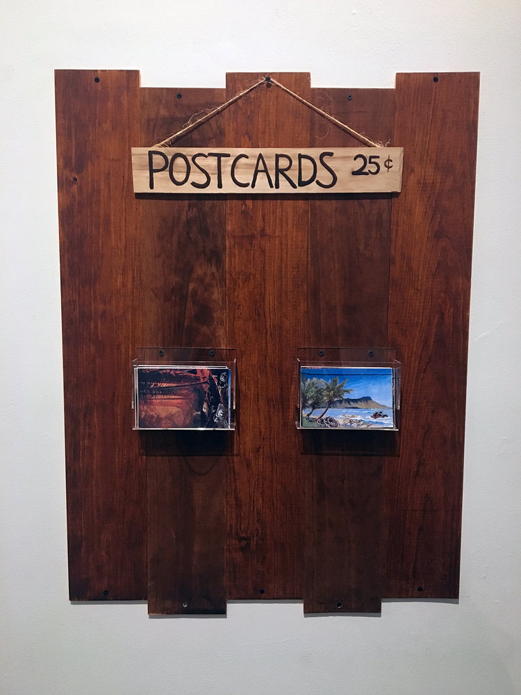 Cameron Qiao, Postcards of Our Changing Environment - mixed media; wood, acrylic paint, and altered found national park postcards