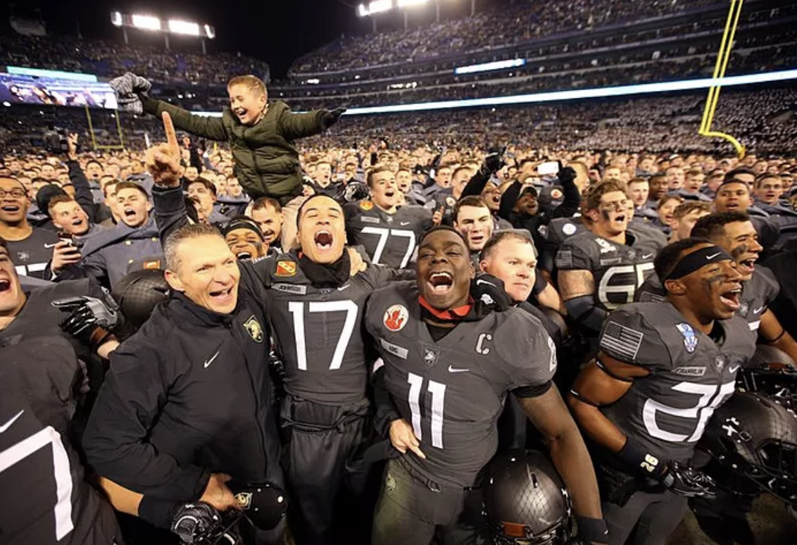 "Army players chanting, ""We liked the sign! We liked the sign!"""