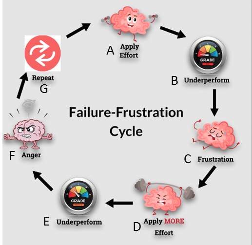 Figure 1:  The Failure-Frustration Cycle (modified from The LearnWell Project 2018). See text for details.
