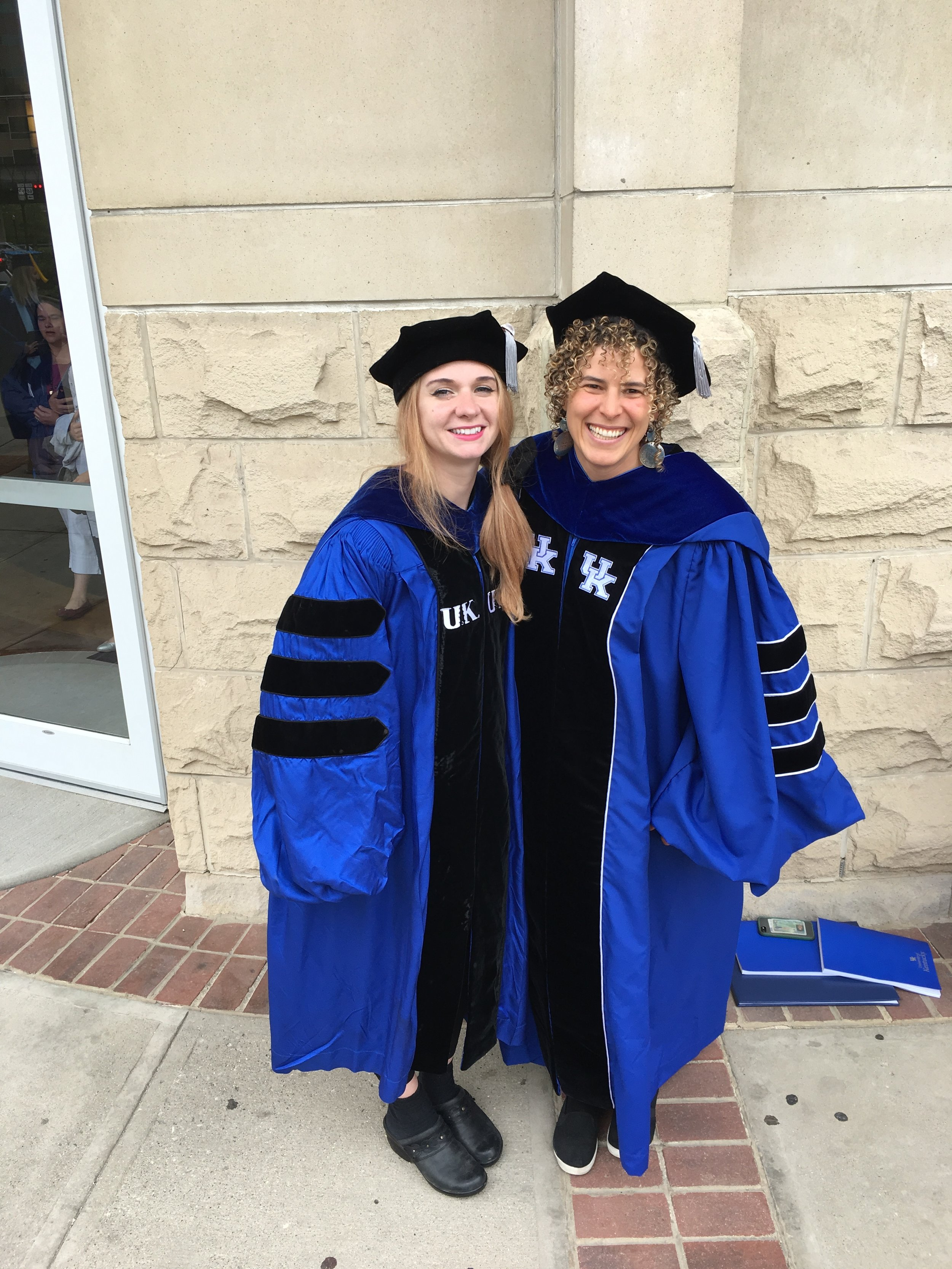 Drs. Jacqueline Dillard (left) and Rose Marks (right) just out of their commencement ceremony where they received a Ph.D. in Biology. Congrats!