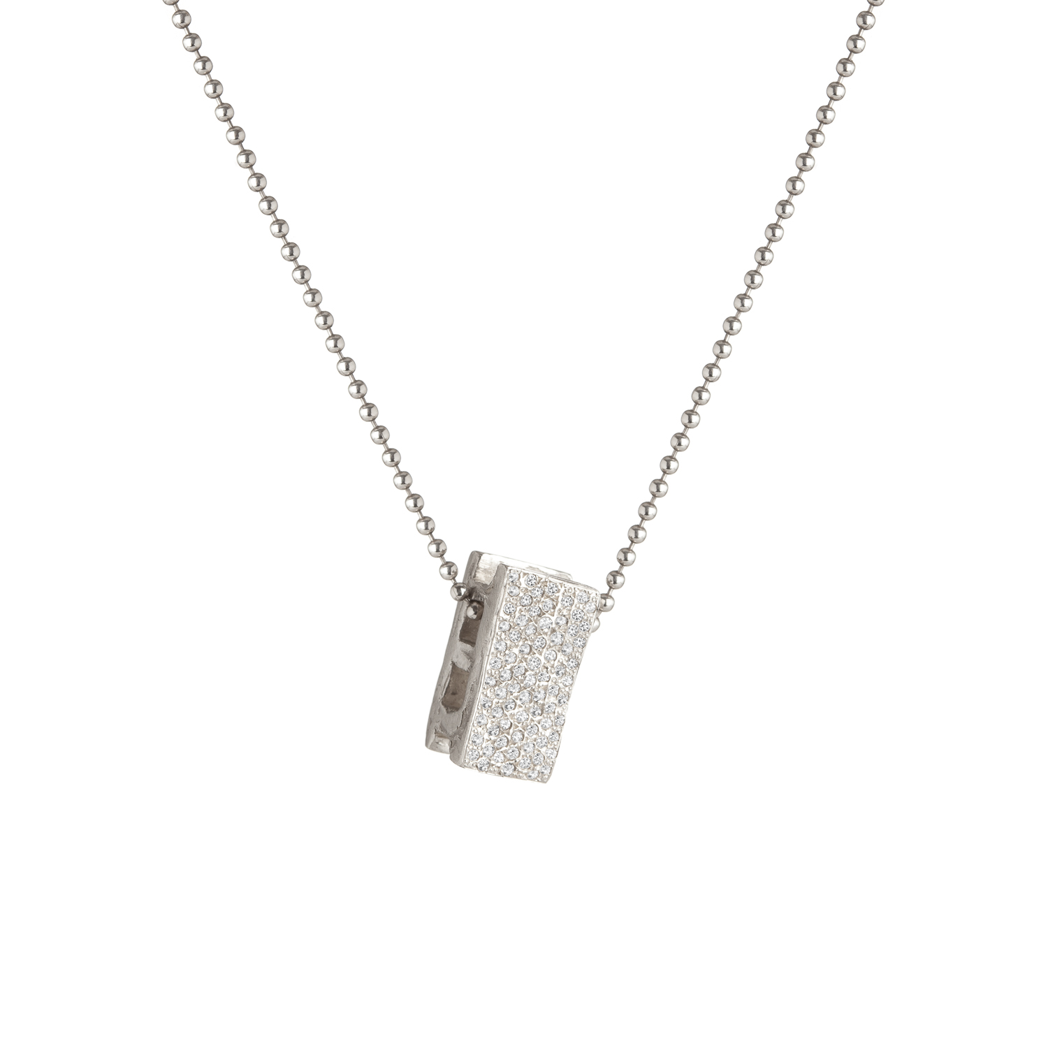 Cinder block | sterling silver and grey diamonds