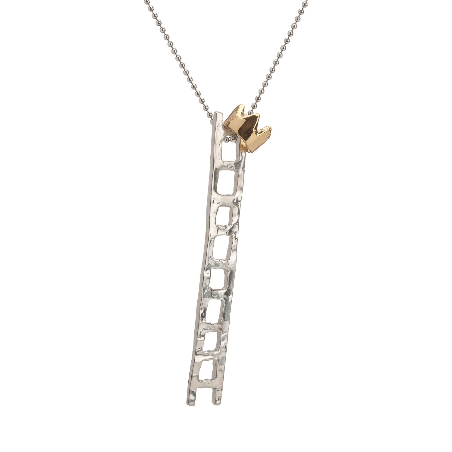 Long ladder and crown | sterling silver and 18k gold