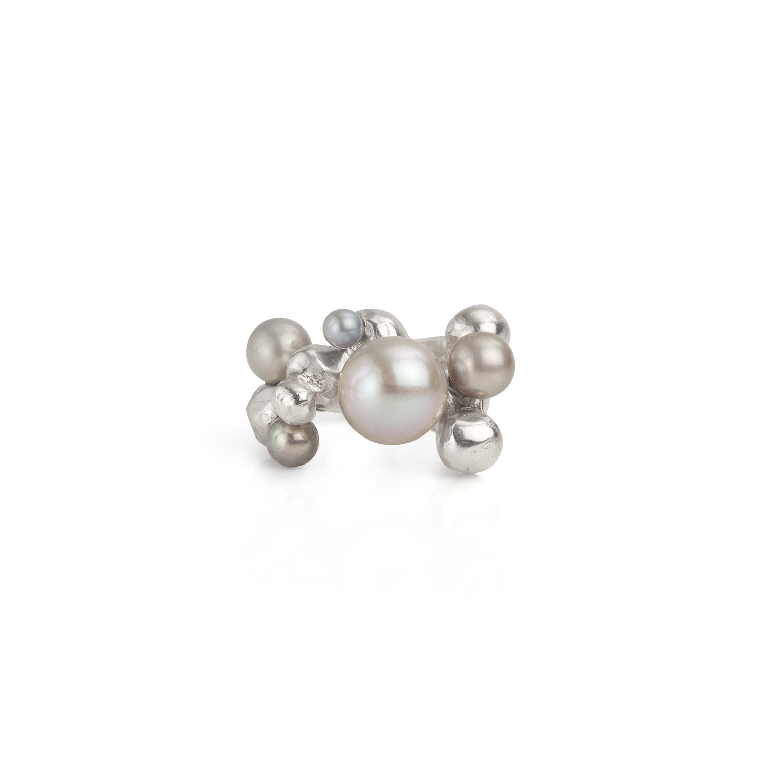 Bubble ring | sterling silver and 5 grey pearls