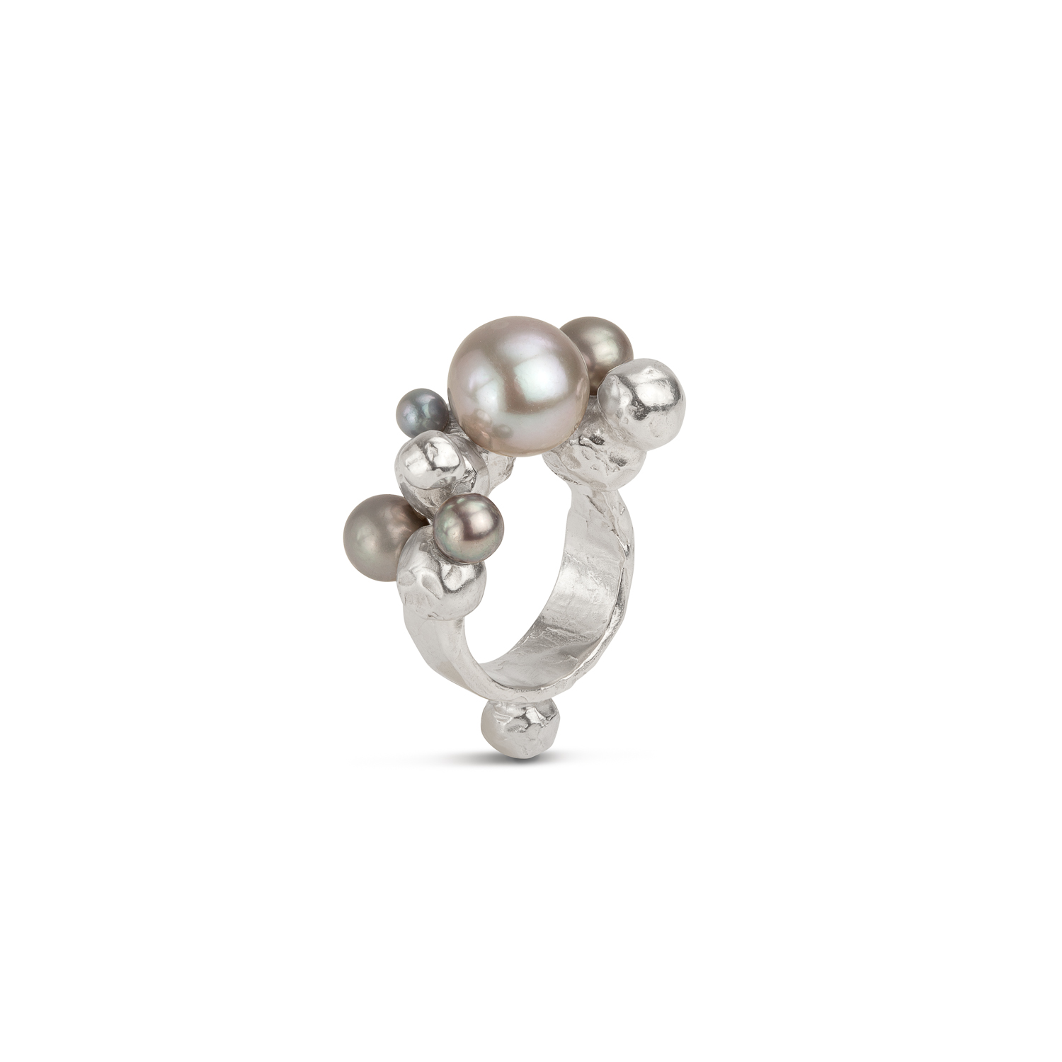 Bubble ring | sterling silver and 3 grey pearls