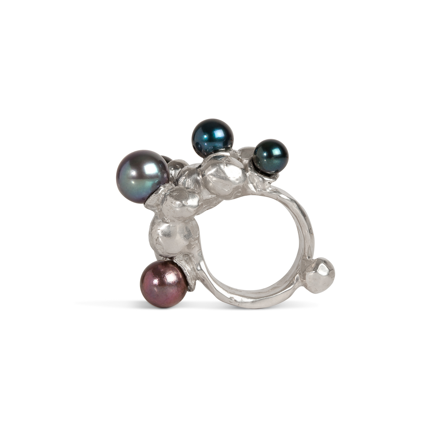 Bubble ring | sterling silver and 5 black pearls