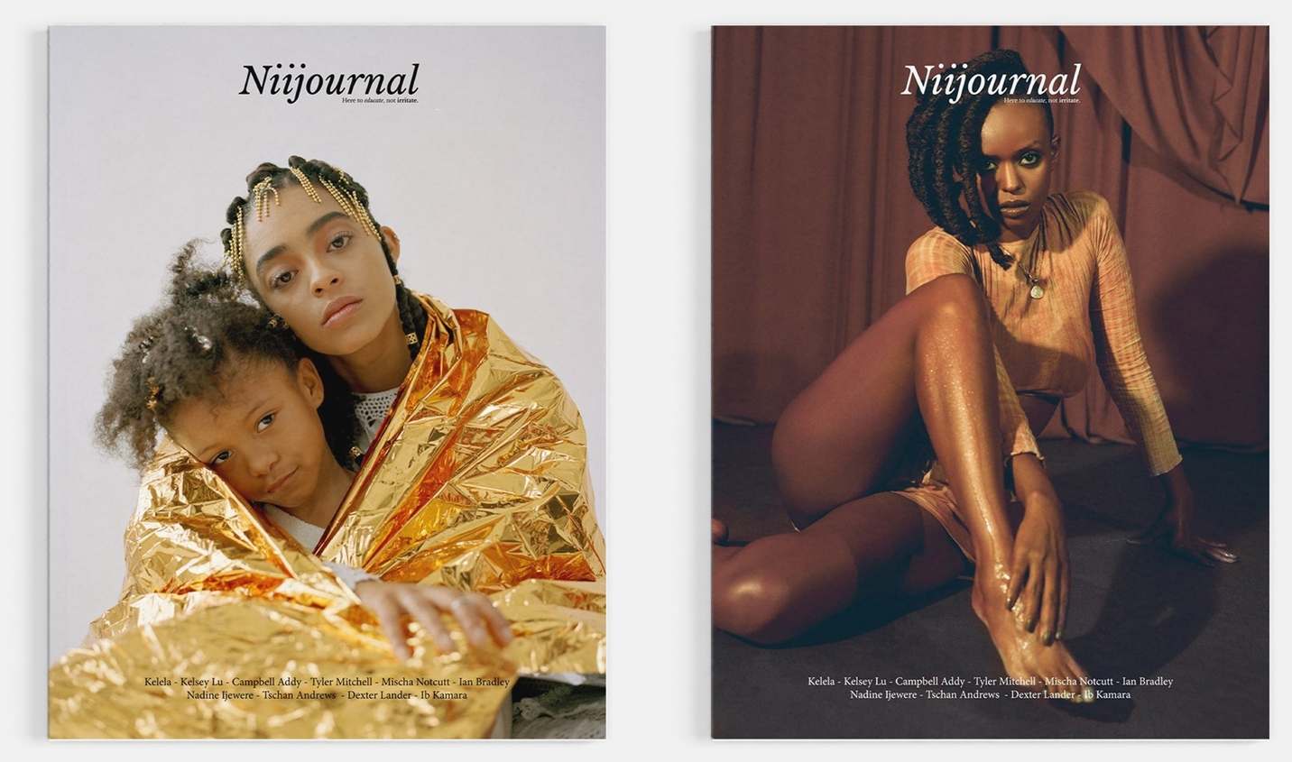 Niijournal II - Exploring the issues of empowerment and representation within race. Issue two of Niijournal comes as a double cover, and features two musical Goddesses. Residing on one of the covers is singer-songwriter and cellist Kelsey Lu, shot by photographer Tyler Mitchell. On the other, singer-songwriter Kelela shot by Addy himself.