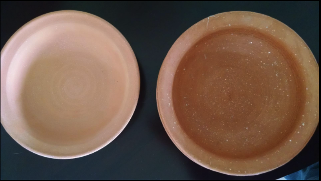 MICA bowls before and after usage. When using your mica-pot you will notice that the clay absorbed the oils and flavors of the food you cook, your pot becomes a reflection of the food you cook.Can you see the MICA sparkles?